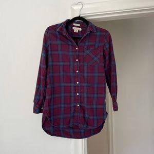 3/$25 H&M Purple Plaid Shirt Hip length Cotton